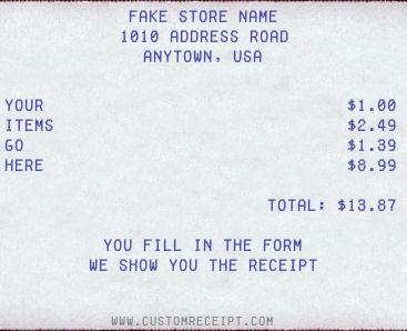 custom receipt maker - Create A Receipt